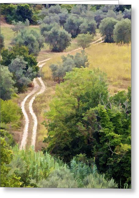 Country Dirt Roads Digital Greeting Cards - Country Road of Tuscany Greeting Card by David Letts