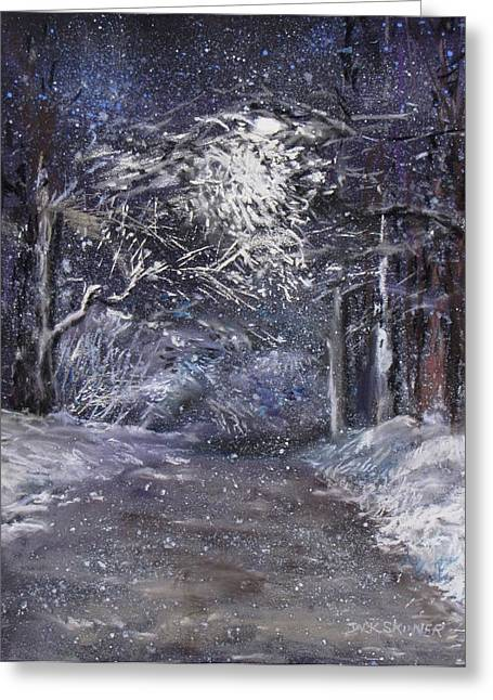Winter Scene Pastels Greeting Cards - Country Road on a Wintery Night Greeting Card by Jack Skinner