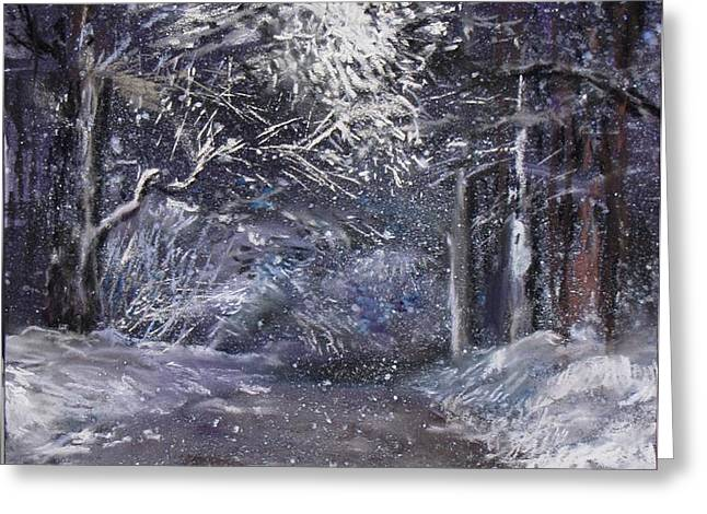 Country Road on a Wintery Night Greeting Card by Jack Skinner