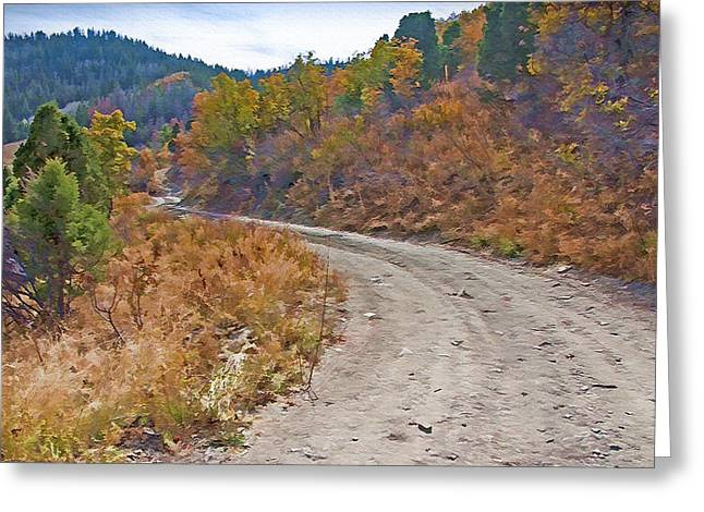 Country Dirt Roads Mixed Media Greeting Cards - Country Road Greeting Card by Steve Ohlsen