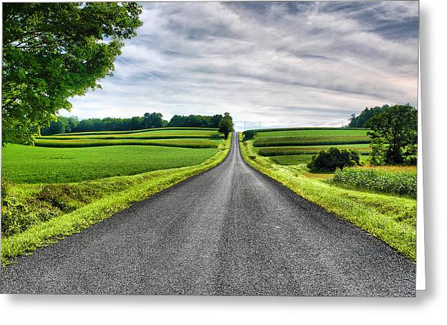 Finger Lakes Greeting Cards - Country Road Greeting Card by Steven Ainsworth