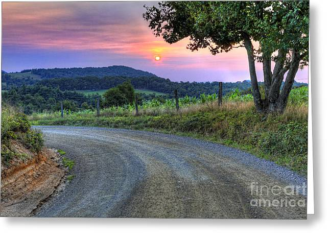 Winery Photography Greeting Cards - Country Road Sunrise - Blue Ridge Mountains I Greeting Card by Dan Carmichael