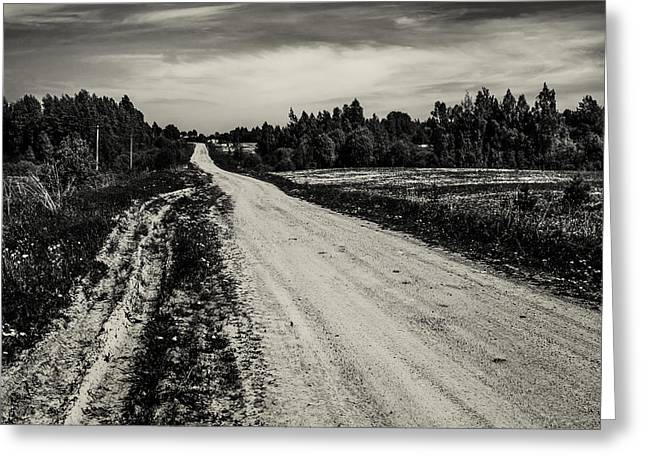Wide Horizons Greeting Cards - Country Road Take Me Home 1. Greeting Card by Jenny Rainbow