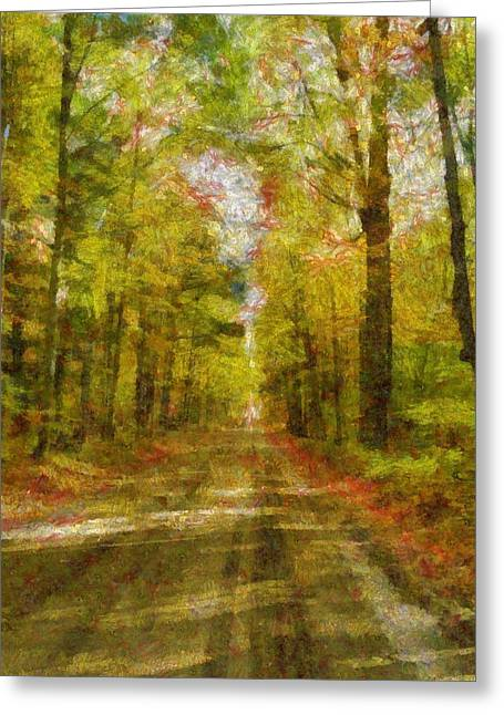 Colorful Trees Digital Greeting Cards - Country Road Take Me Home Greeting Card by Dan Sproul