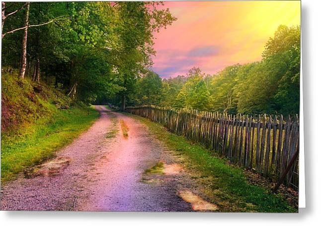 Country Road Take Me Home Greeting Card by Mary Almond