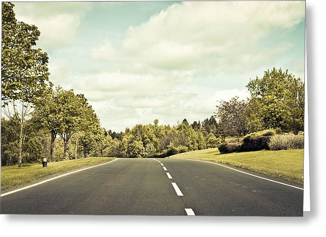 Asphalt Greeting Cards - Country road Greeting Card by Tom Gowanlock