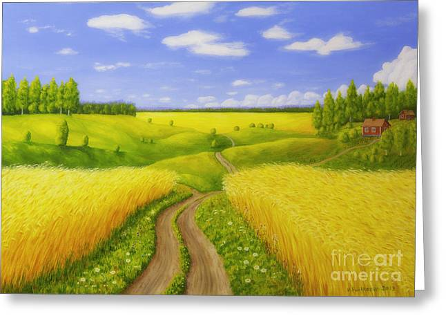 Harmonious Greeting Cards - Country road Greeting Card by Veikko Suikkanen