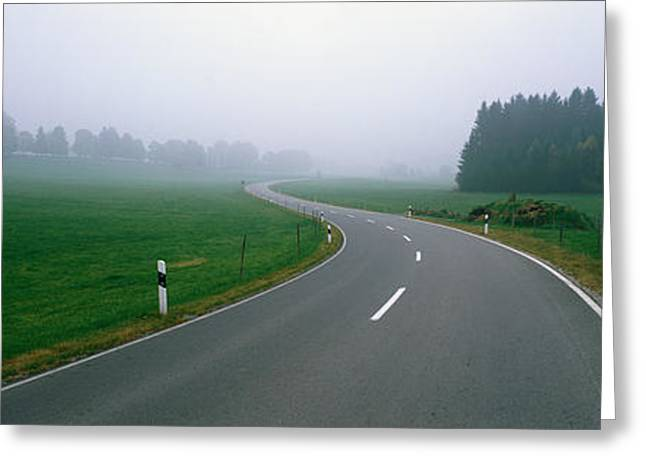 Haze Greeting Cards - Country Road With Fog, Near Vies Greeting Card by Panoramic Images