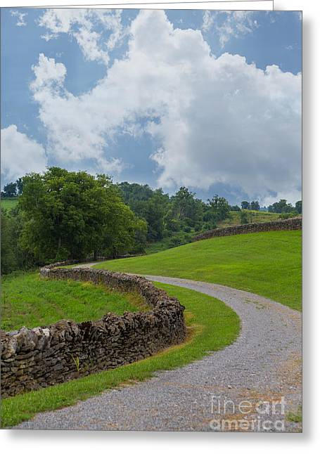 Kaypickens.com Photographs Greeting Cards - Country Road with Limestone Fence Greeting Card by Kay Pickens