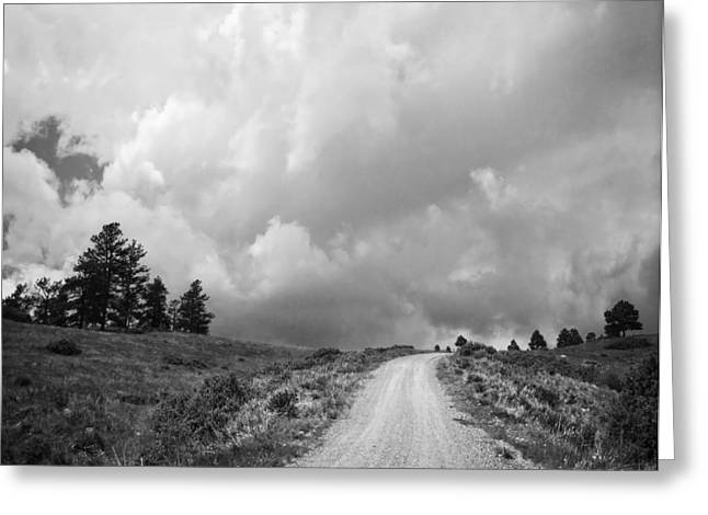 Country Road With Stormy Sky In Black And White Greeting Card by Julie Magers Soulen