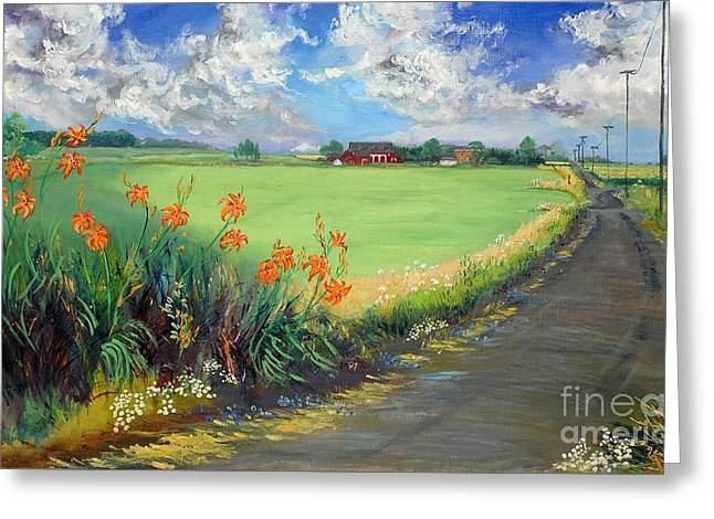 Indiana Scenes Greeting Cards - Country Roads Take Me Home Greeting Card by Gedda Runyon Starlin