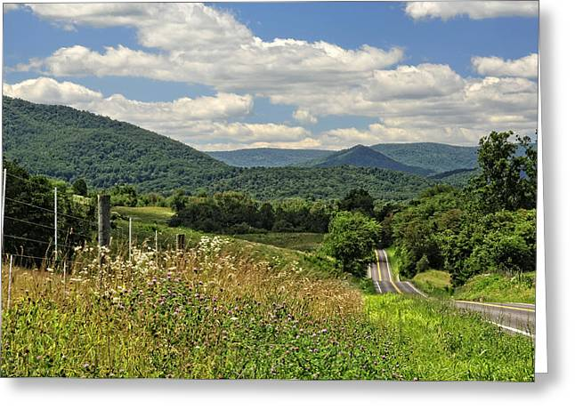 Highway Greeting Cards - Country Roads Take Me Home Greeting Card by Lara Ellis
