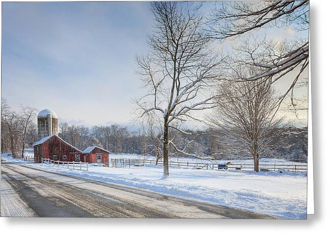 Old Country Roads Greeting Cards - Country Roads Winter Greeting Card by Bill  Wakeley