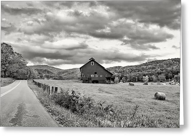 Us Open Photographs Greeting Cards - Country Road...West Virginia bw Greeting Card by Steve Harrington