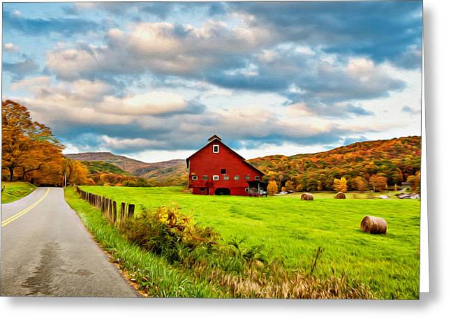 Hay Bales Greeting Cards - Country Road...West Virginia oil Greeting Card by Steve Harrington