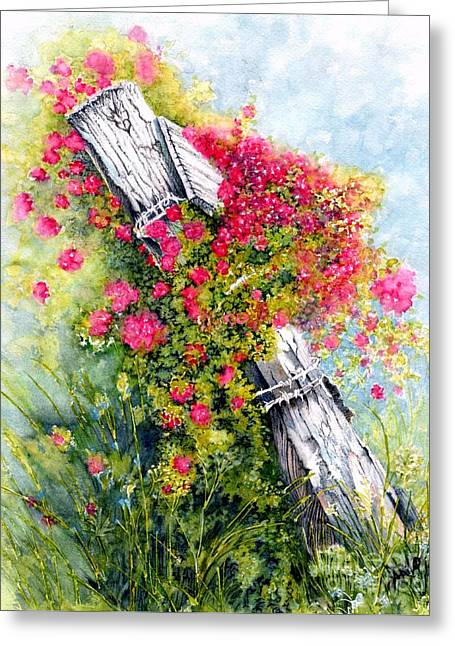 Old Fence Posts Greeting Cards - Country Rose Greeting Card by Janine Riley