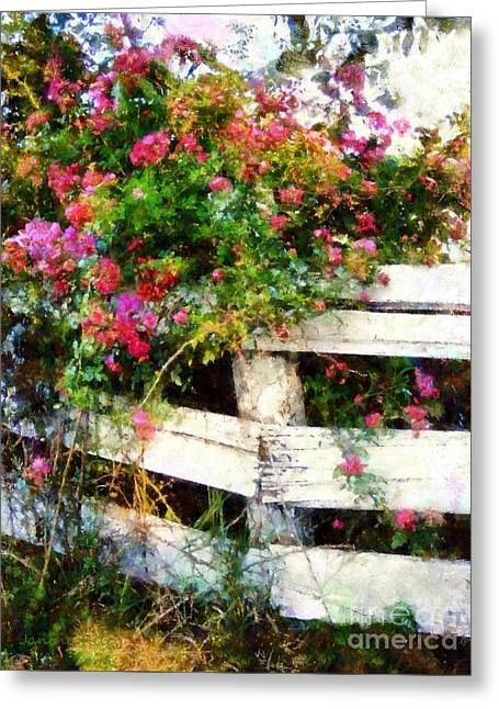 Country Chic Greeting Cards - Country Rose on a fence 3 Greeting Card by Janine Riley