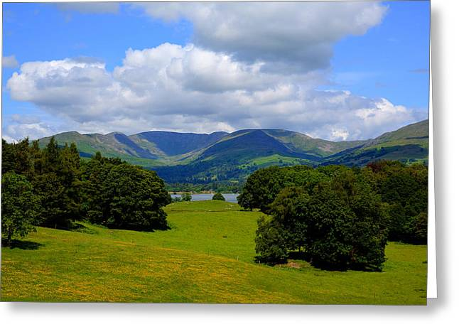 Wray Greeting Cards - Country scene Langdale Valley and Fairfield Horse mountains from Wray Castle Lake District Cumbria Greeting Card by Michael Charles