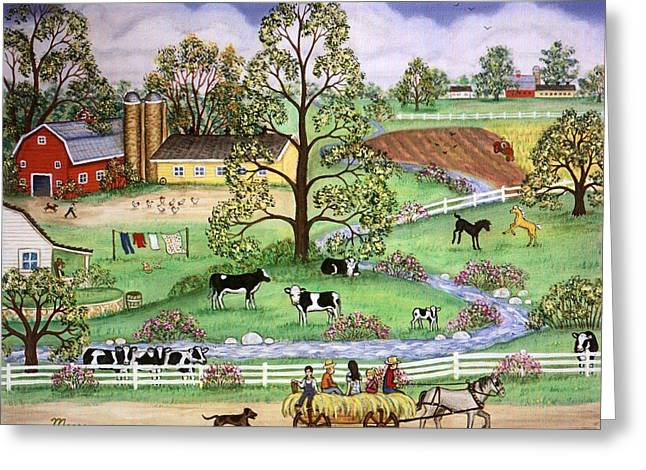 Farm Animal Greeting Cards - Country Scene Greeting Card by Linda Mears