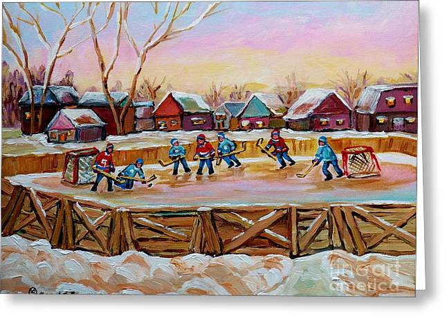 Country Hockey Greeting Cards - Country Scene Painting Outdoor Hockey Rink Canadian Landscape Winter Art Carole Spandau Greeting Card by Carole Spandau
