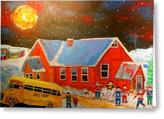 Country Schoolyard Memories Greeting Card by Michael Litvack