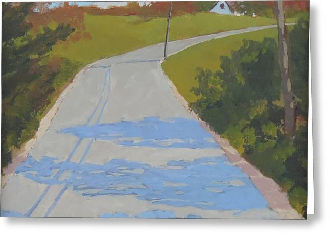 Rural Maine Roads Paintings Greeting Cards - Country Shadows Greeting Card by Bill Tomsa