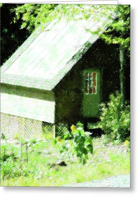 Shed Mixed Media Greeting Cards - Country Shed Greeting Card by Florene Welebny