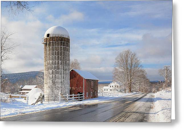 Red Barn Greeting Cards - Country Snow Greeting Card by Bill  Wakeley