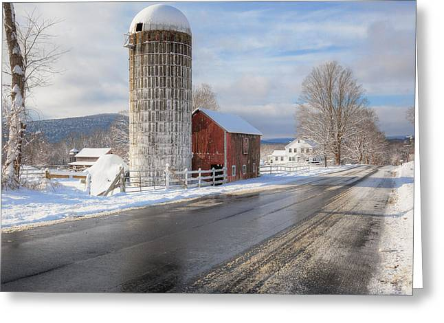 Winter Farm Scene Greeting Cards - Country Snow Square Greeting Card by Bill  Wakeley