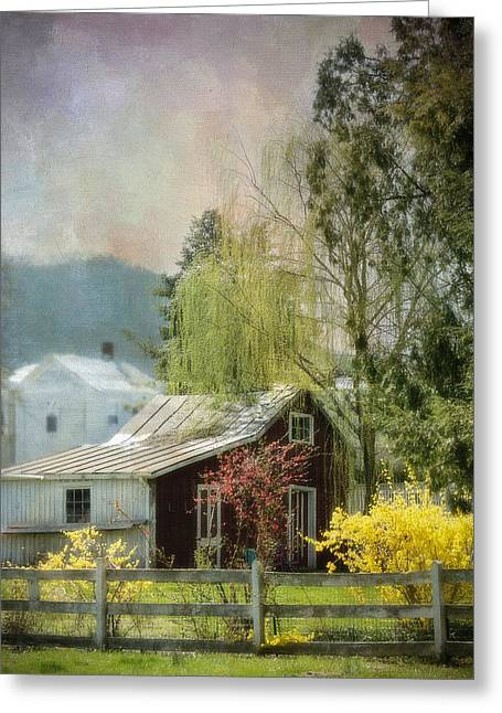 Weeping Greeting Cards - Country Spring Cottage Greeting Card by Kathy Jennings