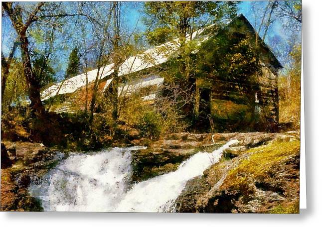 Pa Barns Greeting Cards - Country Spring Waterfalls by the old white barn Greeting Card by Janine Riley