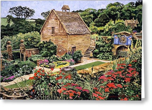 Stone Steps Greeting Cards - Country Stone Manor House Greeting Card by David Lloyd Glover