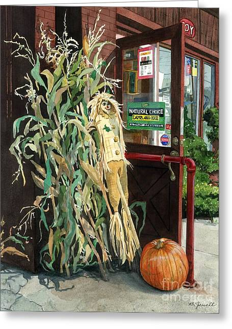 Autumn Decorations Greeting Cards - Country Store Greeting Card by Barbara Jewell