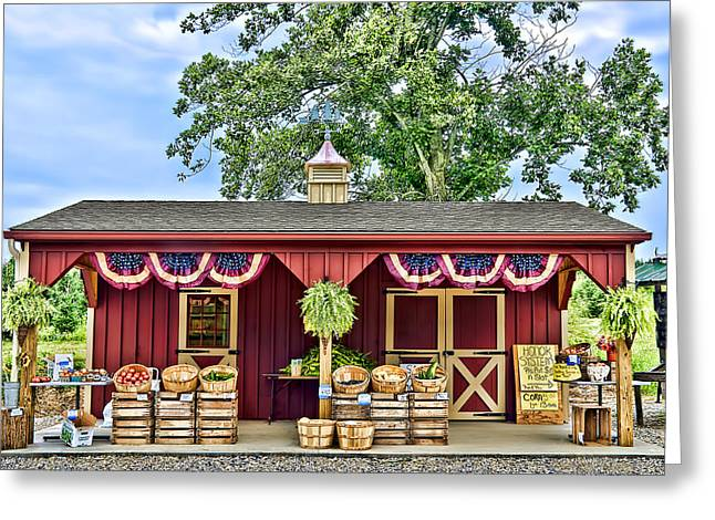 Grocery Store Greeting Cards - Vegetable Stand Greeting Card by Maria Coulson