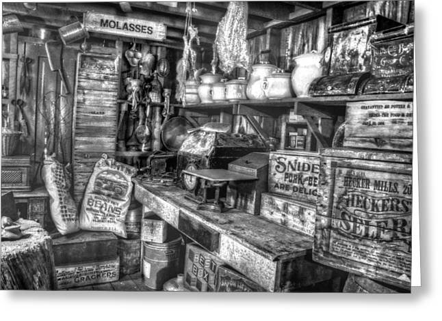 Country Store Greeting Cards - Country Store Supplies Black and White Greeting Card by Ken Smith