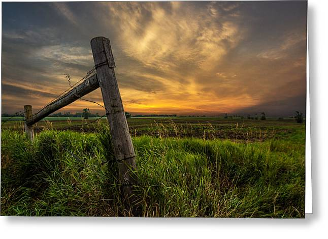 Marshall Greeting Cards - Country Sunrise Greeting Card by Aaron J Groen
