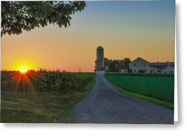 Cornfield Digital Art Greeting Cards - Country Sunrise Greeting Card by Bill Cannon