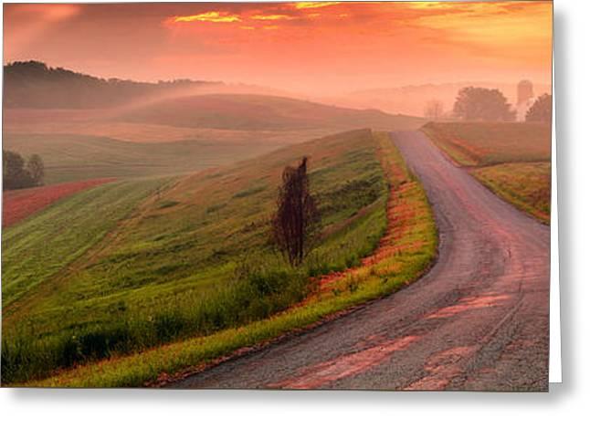 Field. Cloud Greeting Cards - Country Sunrise Bradys Ridge Rd Greeting Card by Emmanuel Panagiotakis