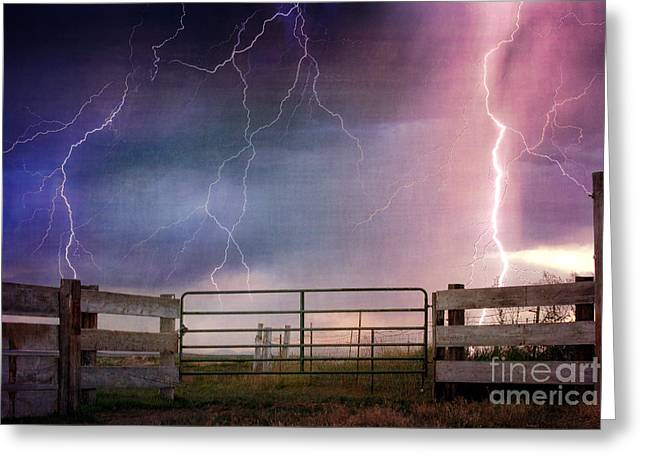 Photography Lightning Greeting Cards - Country Thunder Greeting Card by Cindy Singleton