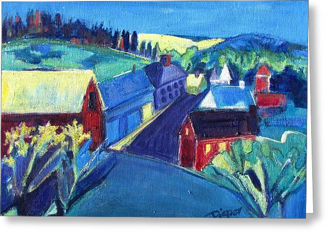 Red School House Greeting Cards - Country Village Greeting Card by Betty Pieper