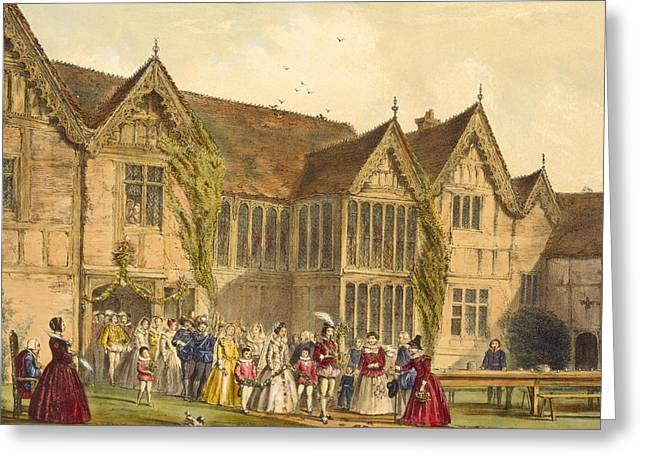 Medieval Architecture Greeting Cards - Country Wedding, Ockwells Manor Greeting Card by Joseph Nash