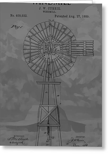 Mountain Cabin Greeting Cards - Country Windmill Patent Greeting Card by Dan Sproul