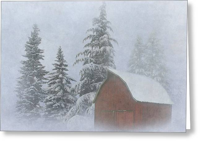 Red Barn In Winter Greeting Cards - Country Winter Greeting Card by Angie Vogel