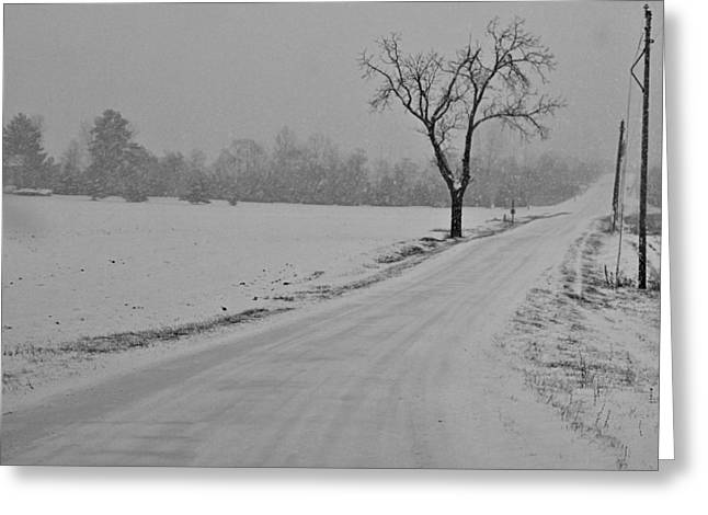 Christmas Eve Greeting Cards - Country Winter Roads Greeting Card by Dan Sproul