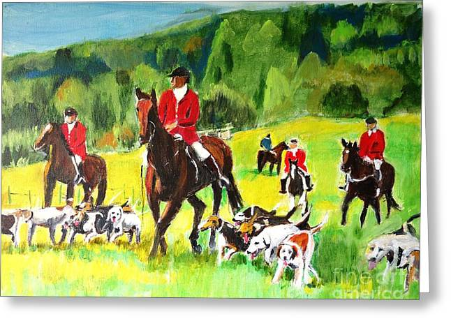 Horse And Rider Greeting Cards - Countryside Hunt Greeting Card by Judy Kay