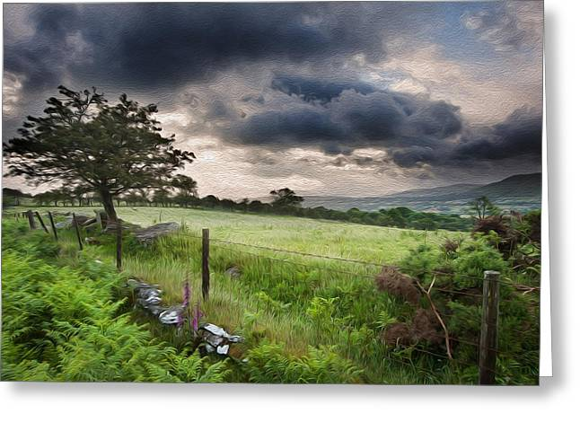 Brecon Beacons Greeting Cards - Countryside landscape image across to mountains in distance digital painting Greeting Card by Matthew Gibson