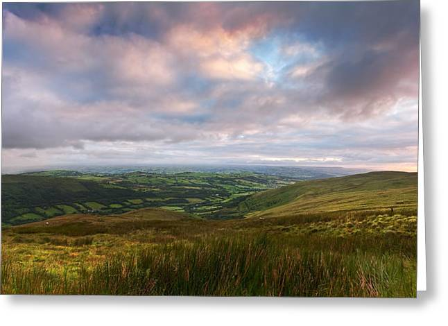 Brecon Beacons Greeting Cards - Countryside landscape panorama image across to mountains in dist Greeting Card by Matthew Gibson