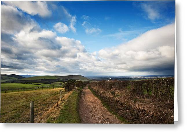Colorful Cloud Formations Greeting Cards - Countryside landscape path leading through fields towards dramat Greeting Card by Matthew Gibson