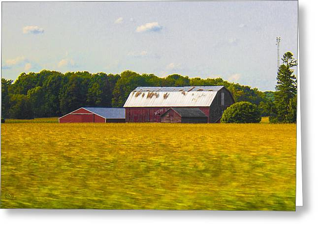 Countryside Landscape With Red Barns Greeting Card by Ben and Raisa Gertsberg