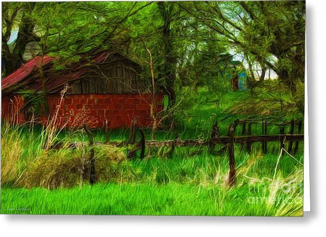 Outbuildings Digital Art Greeting Cards - Countryside Red Outbuilding Greeting Card by Anna Surface